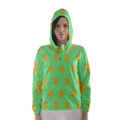 Flower Floral Different Colours Green Orange Hooded Wind Breaker (women) by Alisyart