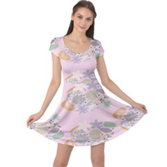 Floral Flower Rose Sunflower Star Leaf Pink Green Blue Cap Sleeve Dresses by Alisyart