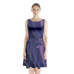 Purple Fractal Sleeveless Chiffon Waist Tie Dress by Simbadda