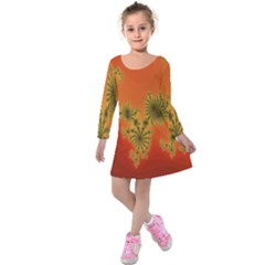 Decorative Fractal Spiral Kids  Long Sleeve Velvet Dress by Simbadda