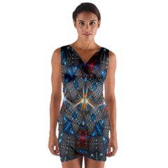 Fancy Fractal Pattern Wrap Front Bodycon Dress by Simbadda