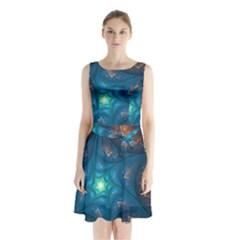 Fractal Star Sleeveless Chiffon Waist Tie Dress by Simbadda