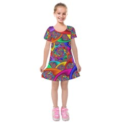 Color Spiral Kids  Short Sleeve Velvet Dress by Simbadda