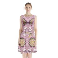Floral Pattern Seamless Wallpaper Sleeveless Chiffon Waist Tie Dress by Simbadda