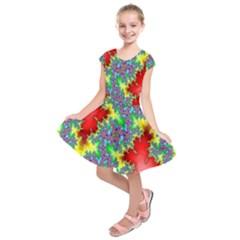 Colored Fractal Background Kids  Short Sleeve Dress by Simbadda