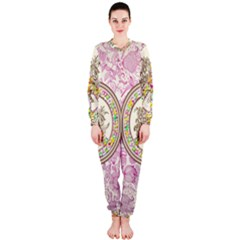 Peace Logo Floral Pattern Onepiece Jumpsuit (ladies)  by Simbadda