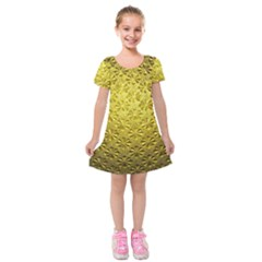 Patterns Gold Textures Kids  Short Sleeve Velvet Dress by Simbadda