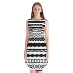 Love Heart Triangle Circle Black White Sleeveless Chiffon Dress   by Alisyart