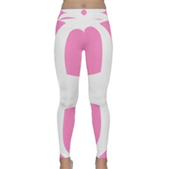Love Heart Valentine Pink White Sweet Classic Yoga Leggings by Alisyart
