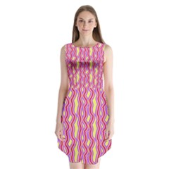 Pink Yelllow Line Light Purple Vertical Sleeveless Chiffon Dress   by Alisyart