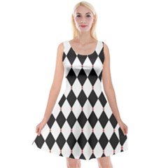 Plaid Triangle Line Wave Chevron Black White Red Beauty Argyle Reversible Velvet Sleeveless Dress by Alisyart