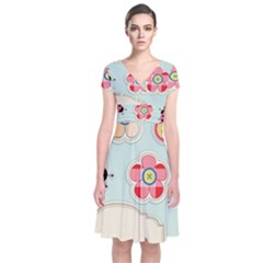 Buttons & Ladybugs Cute Short Sleeve Front Wrap Dress by Simbadda