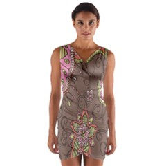 Ice Cream Flower Floral Rose Sunflower Leaf Star Brown Wrap Front Bodycon Dress by Alisyart