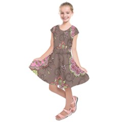 Ice Cream Flower Floral Rose Sunflower Leaf Star Brown Kids  Short Sleeve Dress by Alisyart