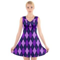 Plaid Triangle Line Wave Chevron Blue Purple Pink Beauty Argyle V Neck Sleeveless Skater Dress by Alisyart