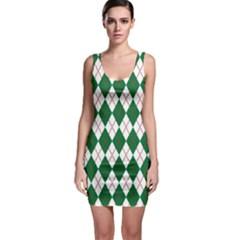 Plaid Triangle Line Wave Chevron Green Red White Beauty Argyle Sleeveless Bodycon Dress