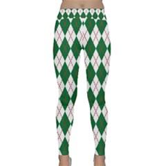 Plaid Triangle Line Wave Chevron Green Red White Beauty Argyle Classic Yoga Leggings by Alisyart