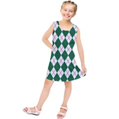 Plaid Triangle Line Wave Chevron Green Red White Beauty Argyle Kids  Tunic Dress by Alisyart