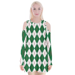 Plaid Triangle Line Wave Chevron Green Red White Beauty Argyle Velvet Long Sleeve Shoulder Cutout Dress by Alisyart