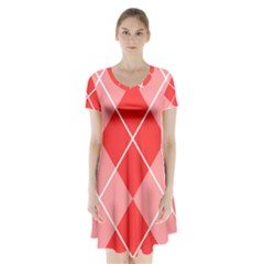 Plaid Triangle Line Wave Chevron Red White Beauty Argyle Short Sleeve V Neck Flare Dress by Alisyart