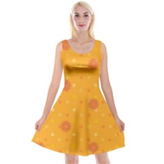 Star White Fan Orange Gold Reversible Velvet Sleeveless Dress by Alisyart