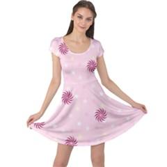 Star White Fan Pink Cap Sleeve Dresses