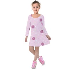 Star White Fan Pink Kids  Long Sleeve Velvet Dress by Alisyart