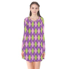 Plaid Triangle Line Wave Chevron Green Purple Grey Beauty Argyle Flare Dress