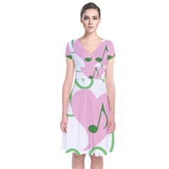 Sweetie Belle s Love Heart Music Note Leaf Green Pink Short Sleeve Front Wrap Dress by Alisyart