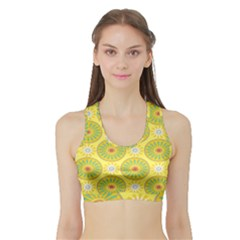 Sunflower Floral Yellow Blue Circle Sports Bra With Border by Alisyart