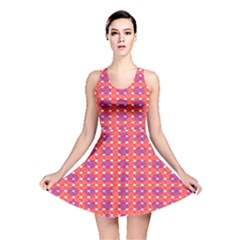 Roll Circle Plaid Triangle Red Pink White Wave Chevron Reversible Skater Dress