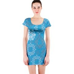 Flower Star Blue Sky Plaid White Froz Snow Short Sleeve Bodycon Dress by Alisyart