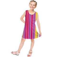 Stripes Colorful Background Kids  Tunic Dress by Simbadda