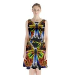 Fractal Butterfly Sleeveless Chiffon Waist Tie Dress by Simbadda