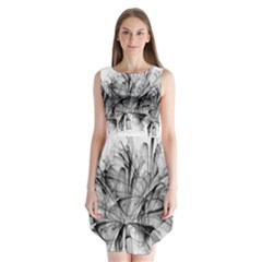 Fractal Black Flower Sleeveless Chiffon Dress   by Simbadda