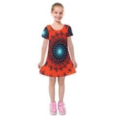 Red Fractal Spiral Kids  Short Sleeve Velvet Dress by Simbadda