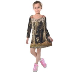 Vintage Circus  Kids  Long Sleeve Velvet Dress by Valentinaart