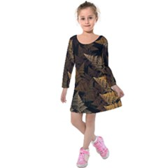 Fractal Fern Kids  Long Sleeve Velvet Dress by Simbadda