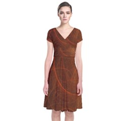 Fractal Color Lines Short Sleeve Front Wrap Dress by Simbadda