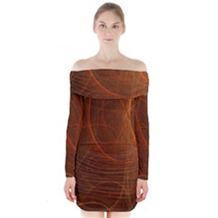 Fractal Color Lines Long Sleeve Off Shoulder Dress by Simbadda