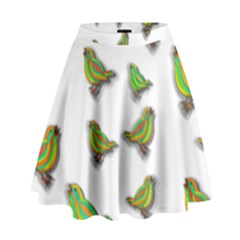 Birds High Waist Skirt by Valentinaart