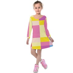 Colorful Squares Background Kids  Long Sleeve Velvet Dress by Simbadda