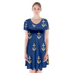 Gold Anchors On Blue Background Pattern Short Sleeve V Neck Flare Dress by Simbadda