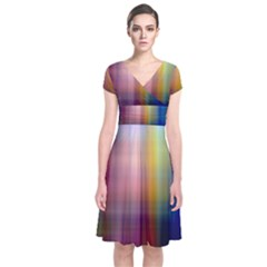 Colorful Abstract Background Short Sleeve Front Wrap Dress by Simbadda