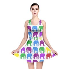 Rainbow Colors Bright Colorful Elephants Wallpaper Background Reversible Skater Dress by Simbadda