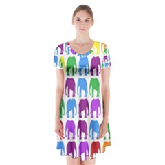Rainbow Colors Bright Colorful Elephants Wallpaper Background Short Sleeve V Neck Flare Dress by Simbadda