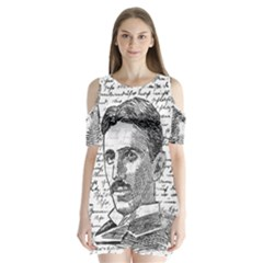 Nikola Tesla Shoulder Cutout Velvet  One Piece by Valentinaart