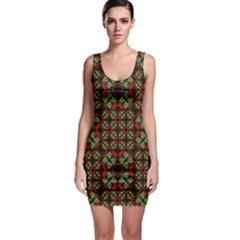 Asian Ornate Patchwork Pattern Sleeveless Bodycon Dress by dflcprintsclothing