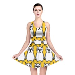 Yellow Owl Background Reversible Skater Dress