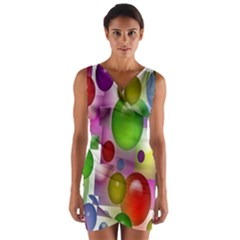 Colorful Bubbles Squares Background Wrap Front Bodycon Dress by Simbadda